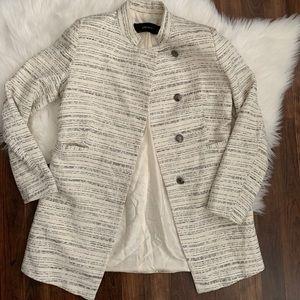 Zara Basic Womens Jacket Cream Black Tweed Long